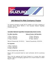Suzuki - 2003 Pro Road Race Contingency Program