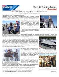 Suzuki - MC 00016 05 Suzuki GSX R 1000 pilot Francis Martin wins 2005 Parts Canada Canadian Superbike Championship title 1