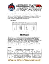 Suzuki - 2004 Worldwide GSX R Cup Program Details