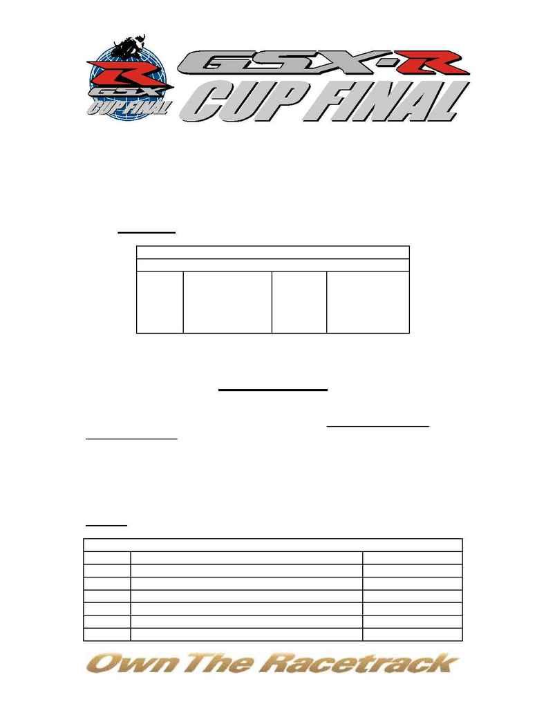Suzuki - 2004 Worldwide GSX R Cup Program Details
