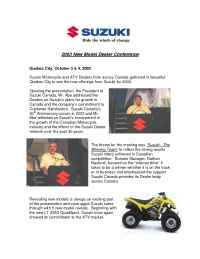 Suzuki - 2003 New Model Dealer Conference Press Release