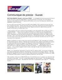 Suzuki - 2004 Daytona Suzuki Press Release French