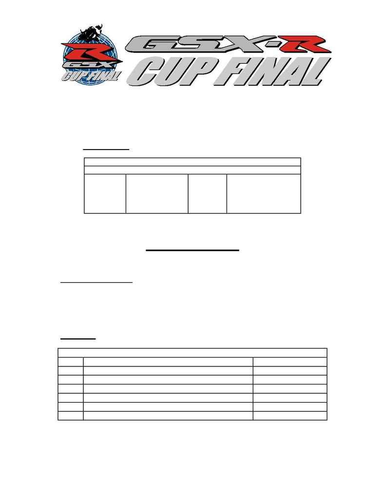 Suzuki - 2004 Worldwide GSX R Cup Program Details FR