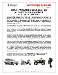 Suzuki - C00001 04 Suzuki Donates Burgman 400 to Leukemia Research FR