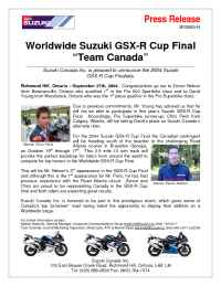 Suzuki - MC 00003 04 GSX R Cup Final Team Canada