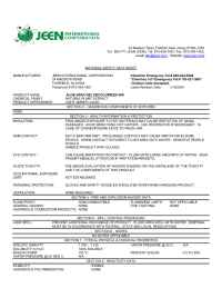 Jeen International - msds ALOE VERA GEL DECOLORIZED 40 X