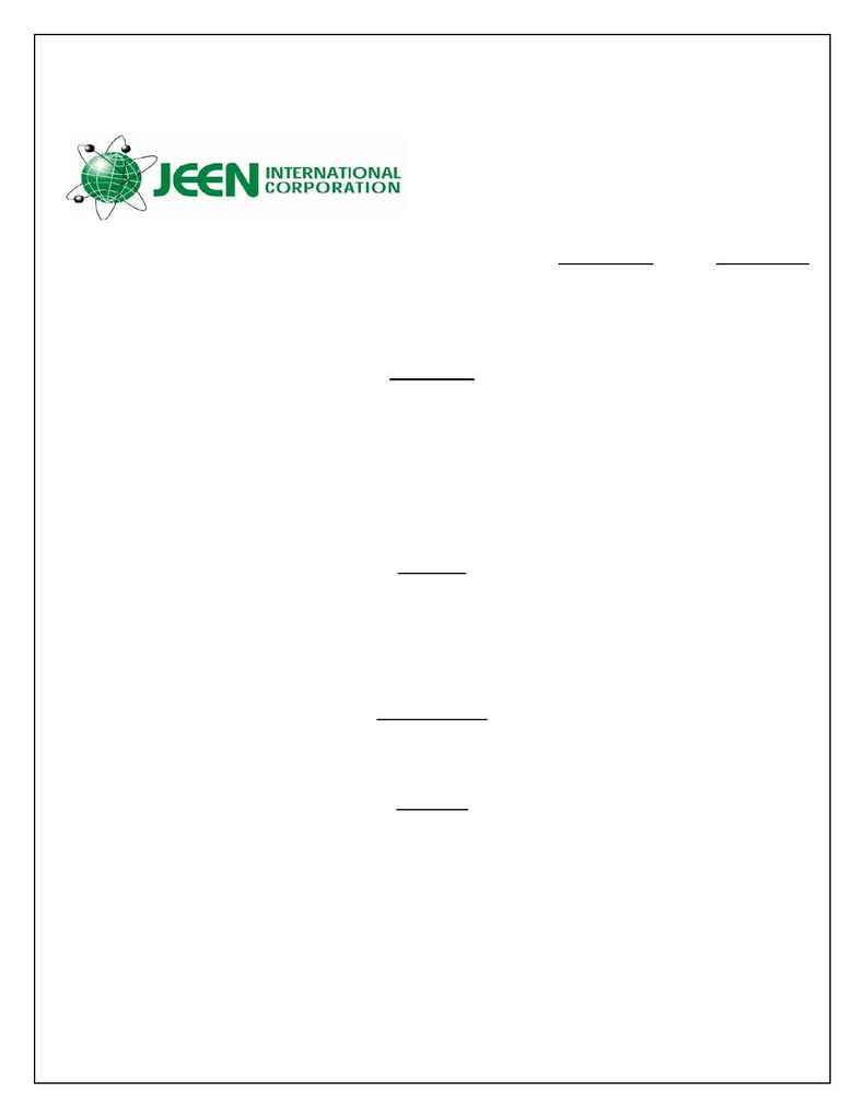 Jeen International - spec JEECHEM SHAMPOO ST ARR