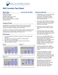Health Grades - Health Grades Investor Corporate Fact Sheet August 2007