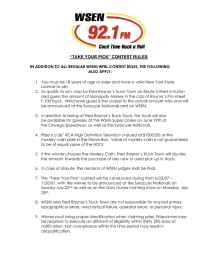 WSEN FM 92.1 - Take Your Pick RULES