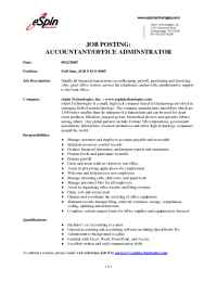 eSpin Technologies - Accountant Office Admin EOC 0605