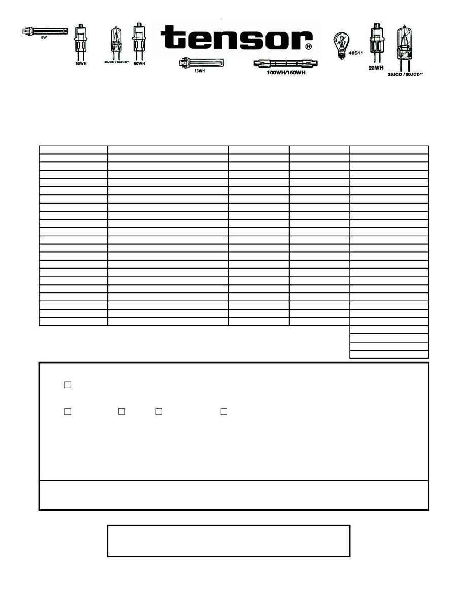Tensor Corporation - BULB ORDER FORM