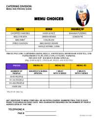 Maurice's Gourmet Barbeque - Maurices catering menu
