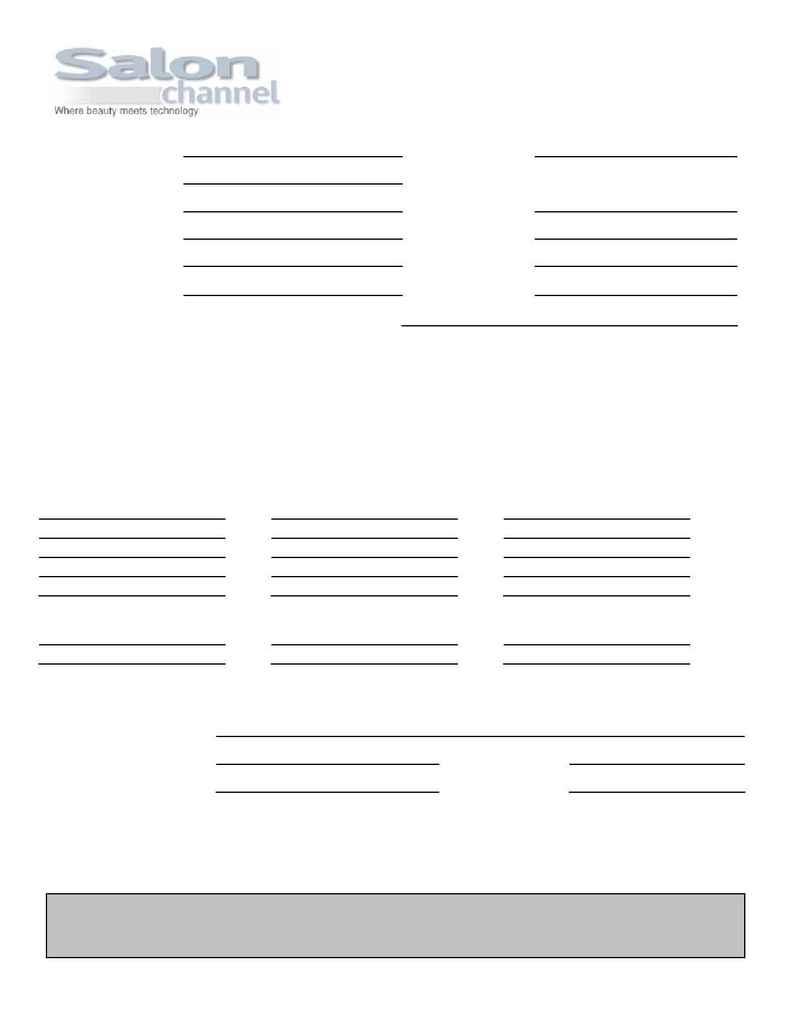 Salon Channel - SC Order Form