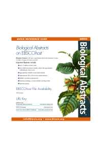 Biosis - ba ebsco