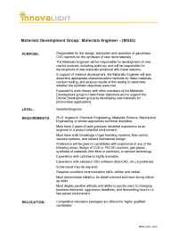 Innovalight - MSE 2 Materials Engineer