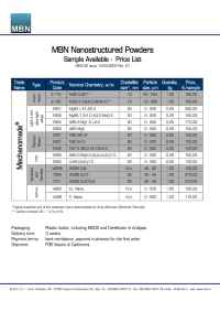 MBN Nanomaterialia - Mechanomade Nanostructured Powders Listino