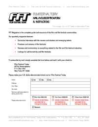 Film Festival Today - fft subscribe form