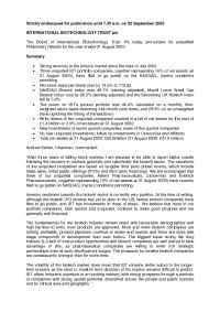 International Biotechnology Trust (IBT) - 22 sept 2003