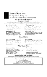 Events of Excellence - bbq menu
