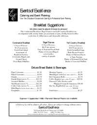 Events of Excellence - breakfast suggestions