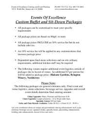 Events of Excellence - Catering Packages
