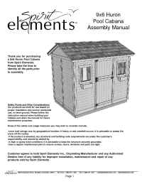 Spirit Elements - Huron Pool Cabana Assembly Instructions