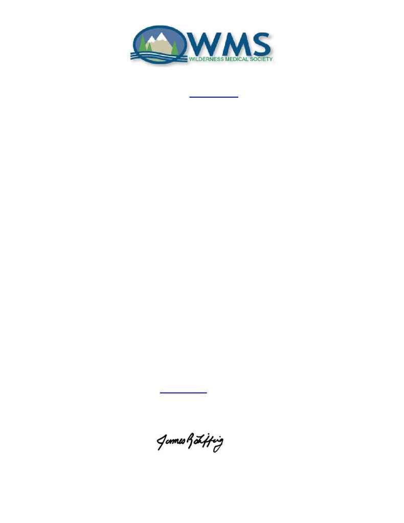 Wilderness Medical Society - Dean Letter 2006