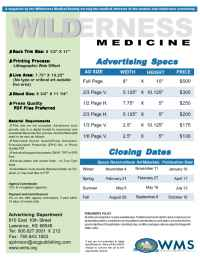 Wilderness Medical Society - WMMA Rate Card 2006
