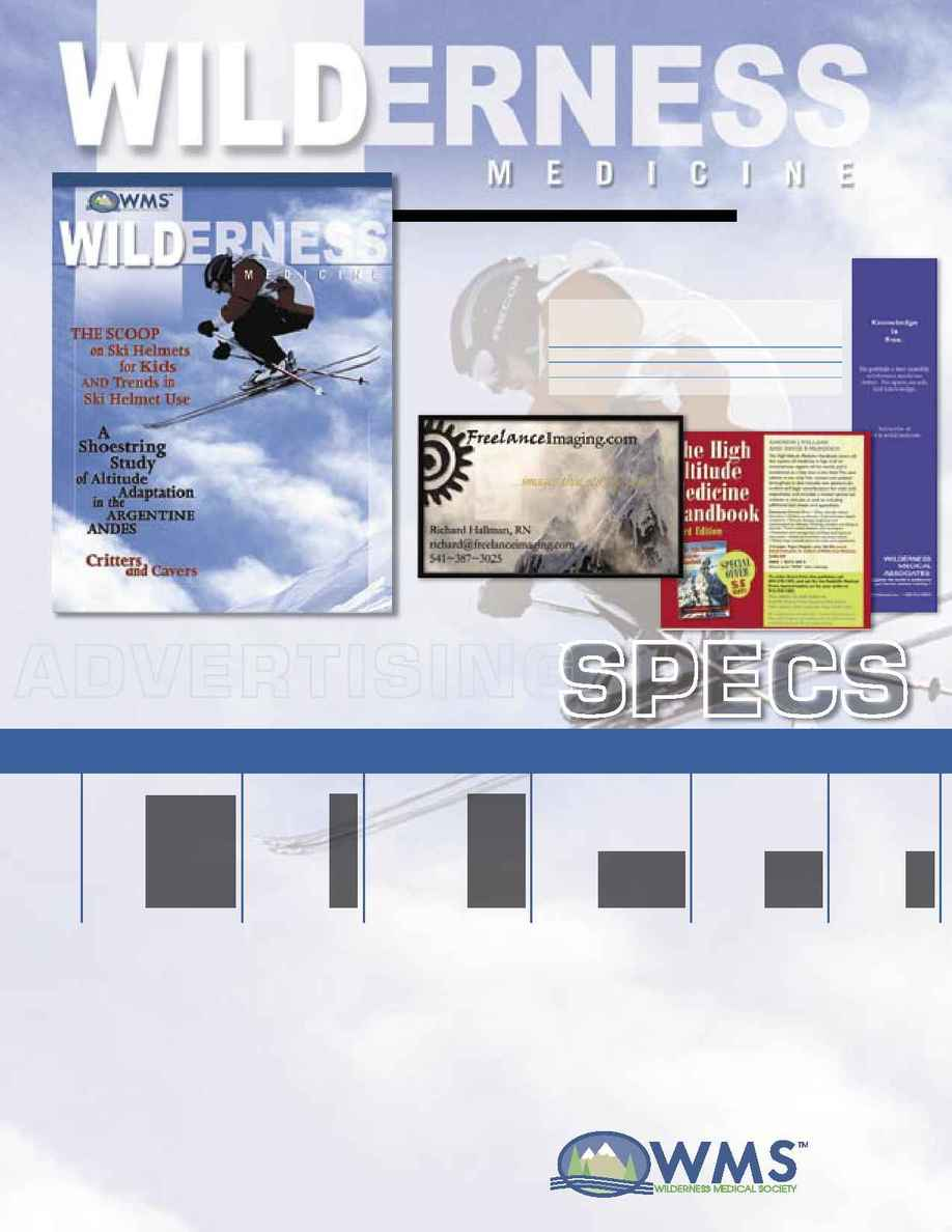 Wilderness Medical Society - WMSSpec Sheet