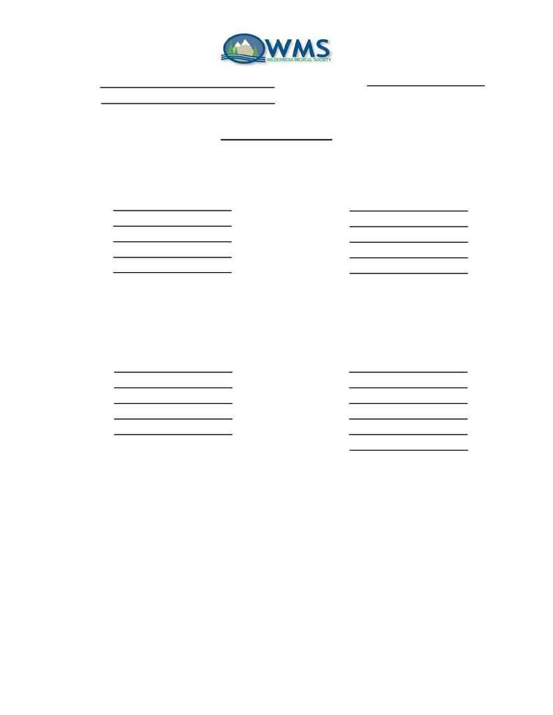 Wilderness Medical Society - SIG Registration Forms