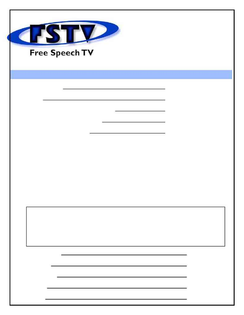 Free Speech TV Cable Project - House Party Wrap Up Form