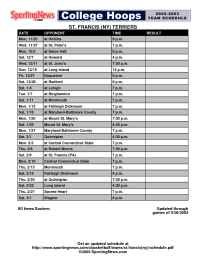 Sporting News - schedule